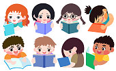 A combination of 8 children reading books. Different international