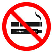NO SMOKING, NO VAPING combined sign. Printable sticker. Vector