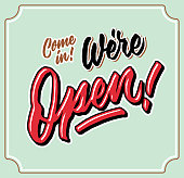 come in we are open vintage hand letttering typography shop door tag
