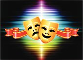 Comedy and Tragedy Mask on Abstract Spectrum Background