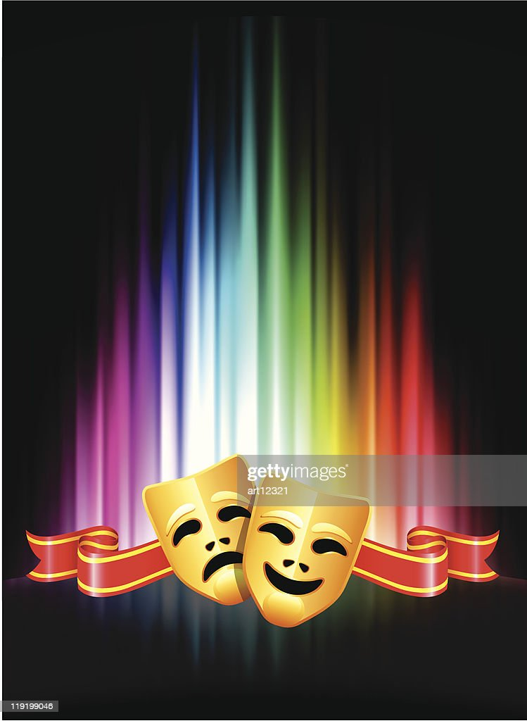 A comedy and tragedy mask with a rainbow background