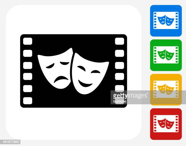 Comedy and Tragedy on Film Icon Flat Graphic Design