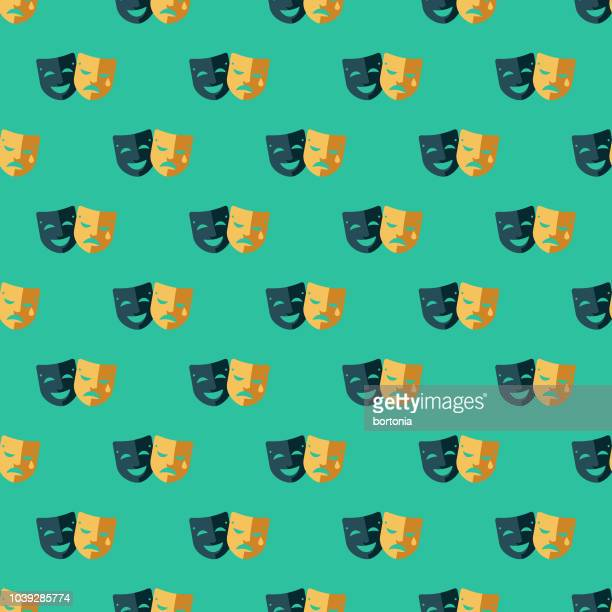 comedy and tragedy seamless pattern - theater industry stock illustrations, clip art, cartoons, & icons