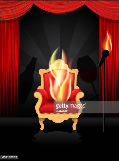 Comedy Roast and toast concept with chair