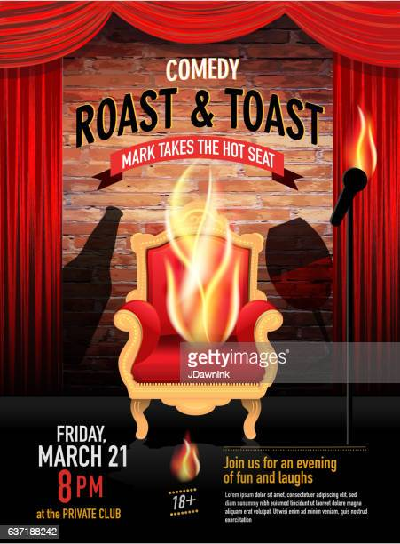 Comedy Roast design template with red curtain