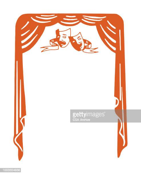 comedy tragedy stage curtain - actor stock illustrations