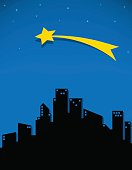 comet and stars fo the city, vector illustration