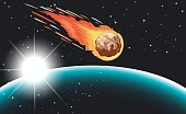 Comet flying in the space