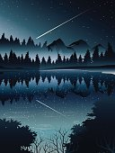 comet over deep pine forest and river when night