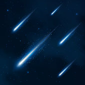 Comet shower in the starry sky. Vector abstract background