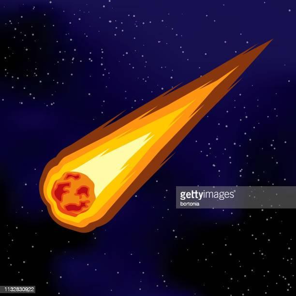 ilustraciones, imágenes clip art, dibujos animados e iconos de stock de icono del espacio del cometa - cometa espacio