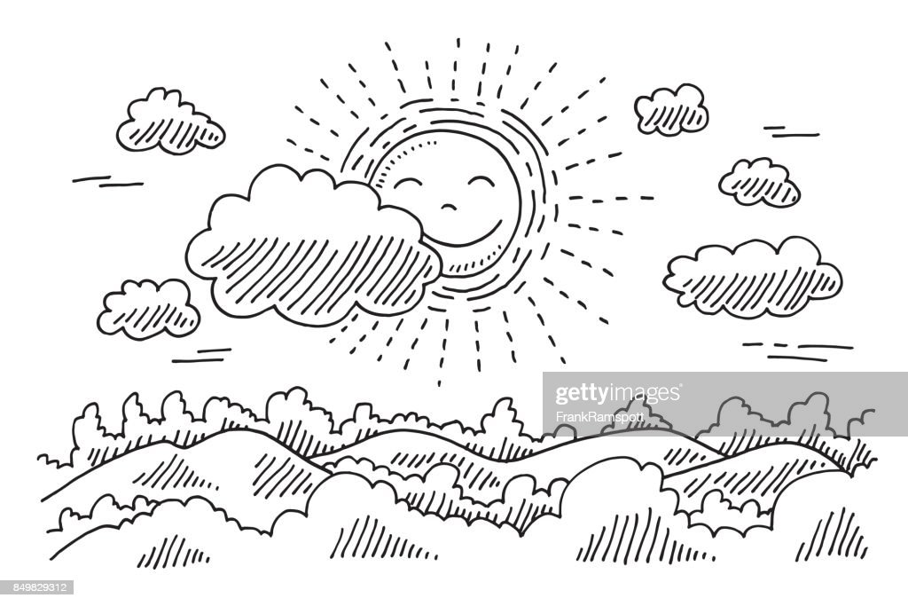 Comforable Sonne Ruhe Landschaft Zeichnung : Stock-Illustration