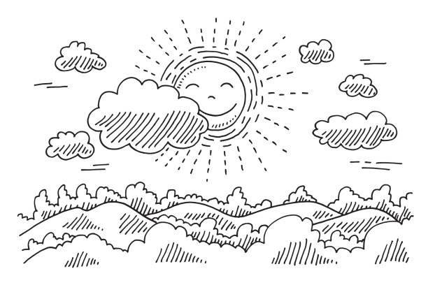 comforable sun calm landscape drawing - doodle stock illustrations