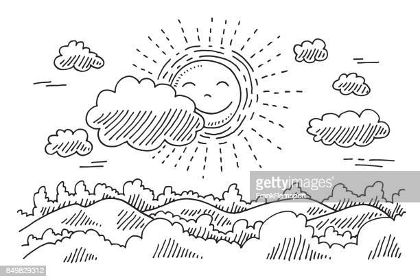 comforable sun calm landscape drawing - pen and ink stock illustrations