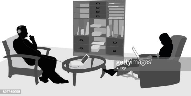 comfy laptops - chaise stock illustrations, clip art, cartoons, & icons