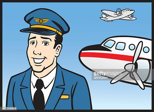 Comic Airline Pilot With Plane