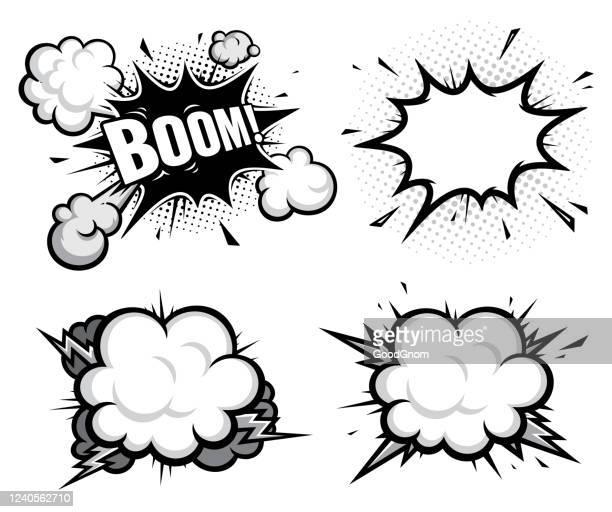 stockillustraties, clipart, cartoons en iconen met stripboek effect explosie - cartoon