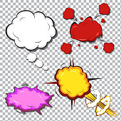 Comic book explosion. Explosion boom,Multi color  cloud, smoke and explode