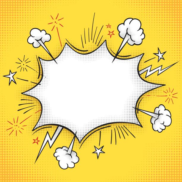 comic book explosion frame - cartoon stock illustrations
