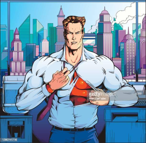 コミックブックヒーロー - アメリカ文化点のイラスト素材/クリップアート素材/マンガ素材/アイコン素材