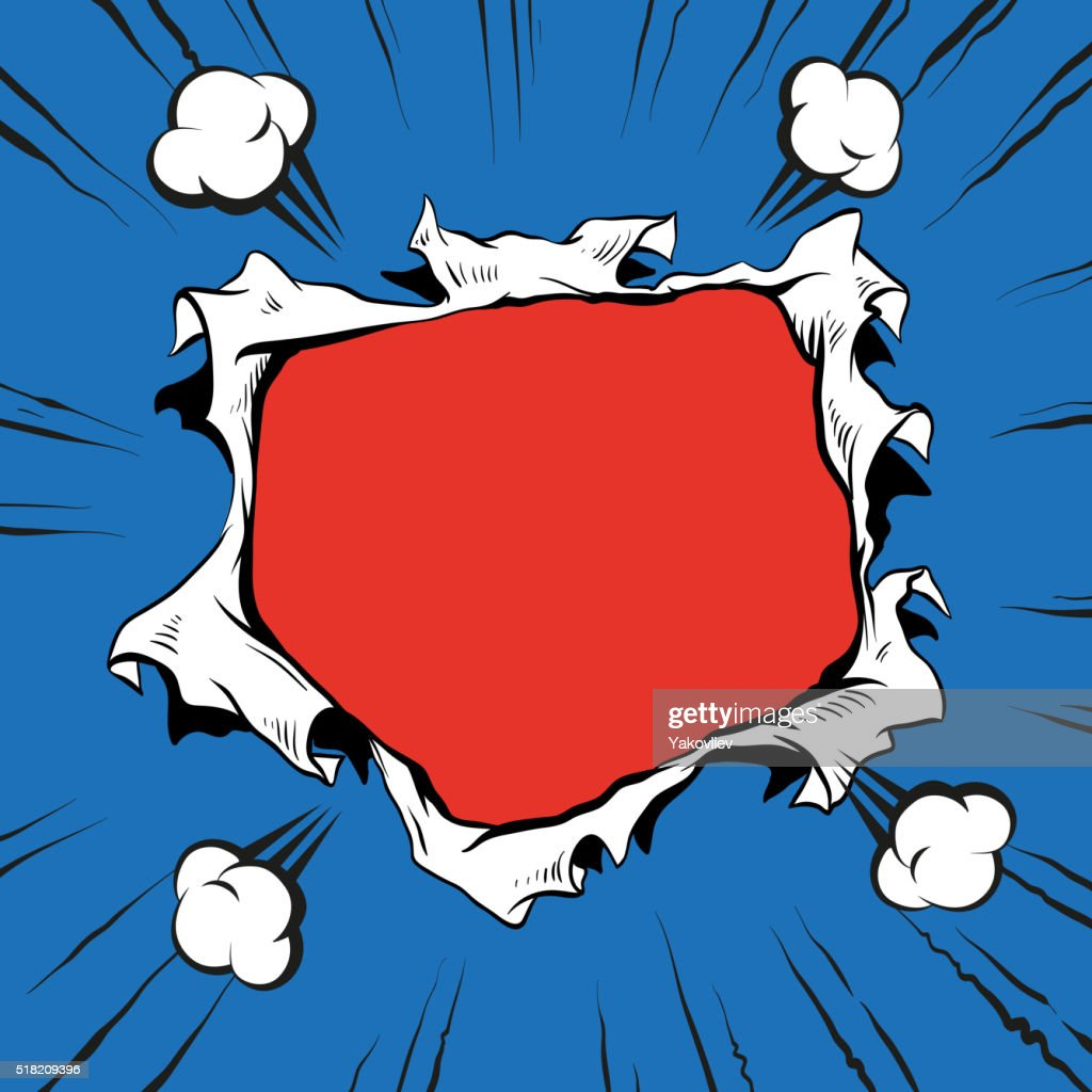 Comic book hole explosion, hand drawn vector illustration
