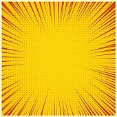 Comic book or pop art background. Vector  yellow striped pop art or comic book background with halftone.
