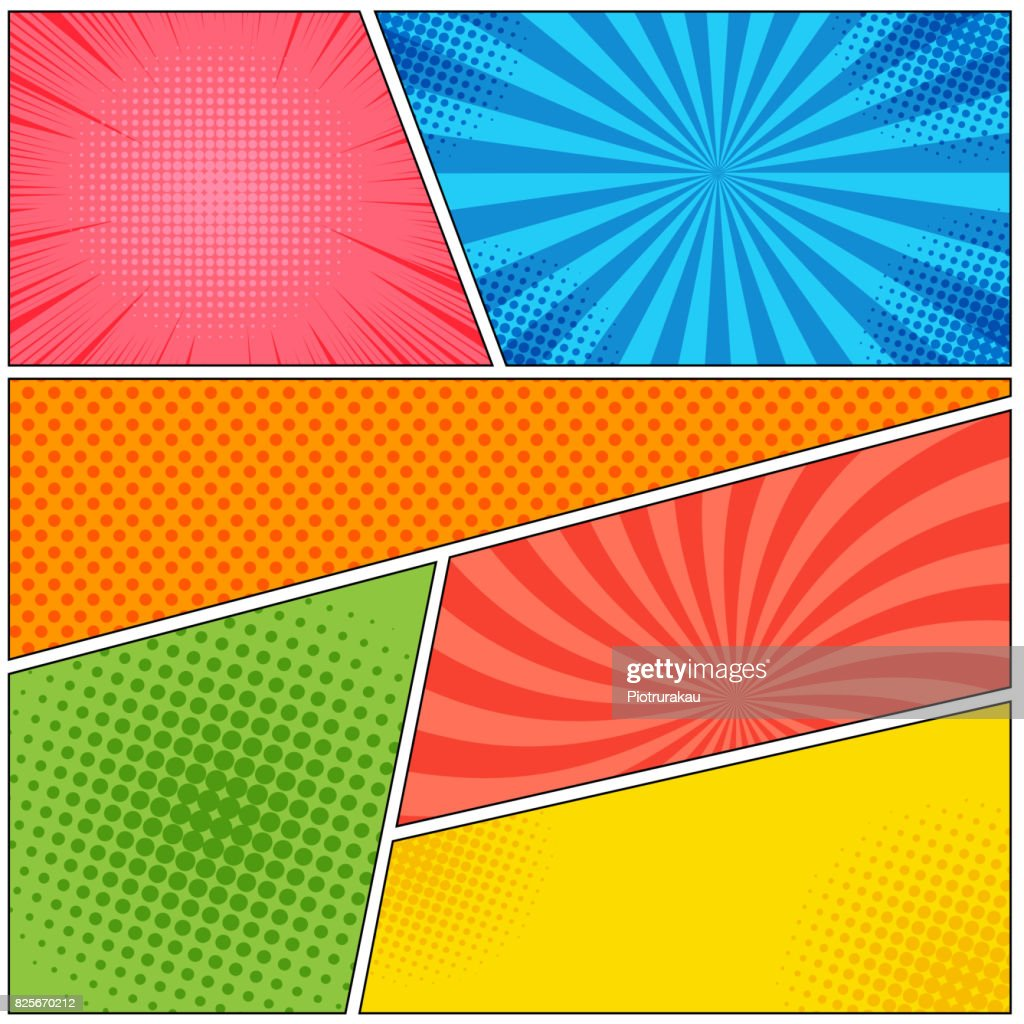 Comic book page colorful abstract template