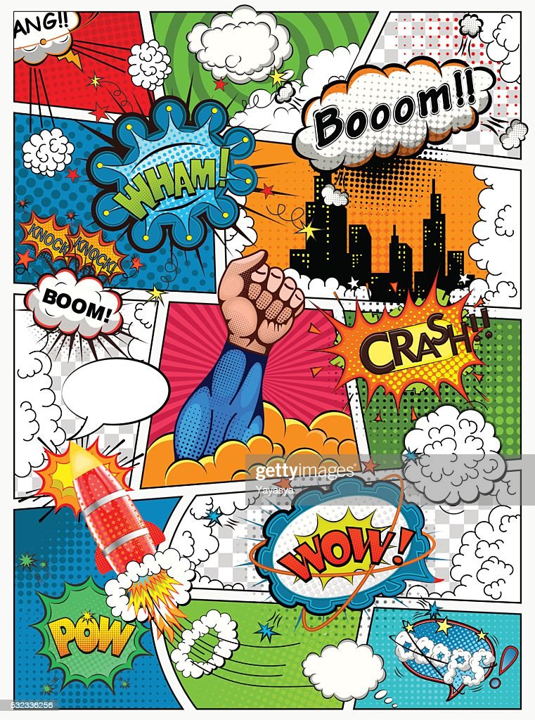 Comic book page divided by lines. Retro background mock-up.