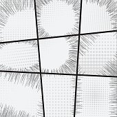 Comic book set frame black and white radial lines