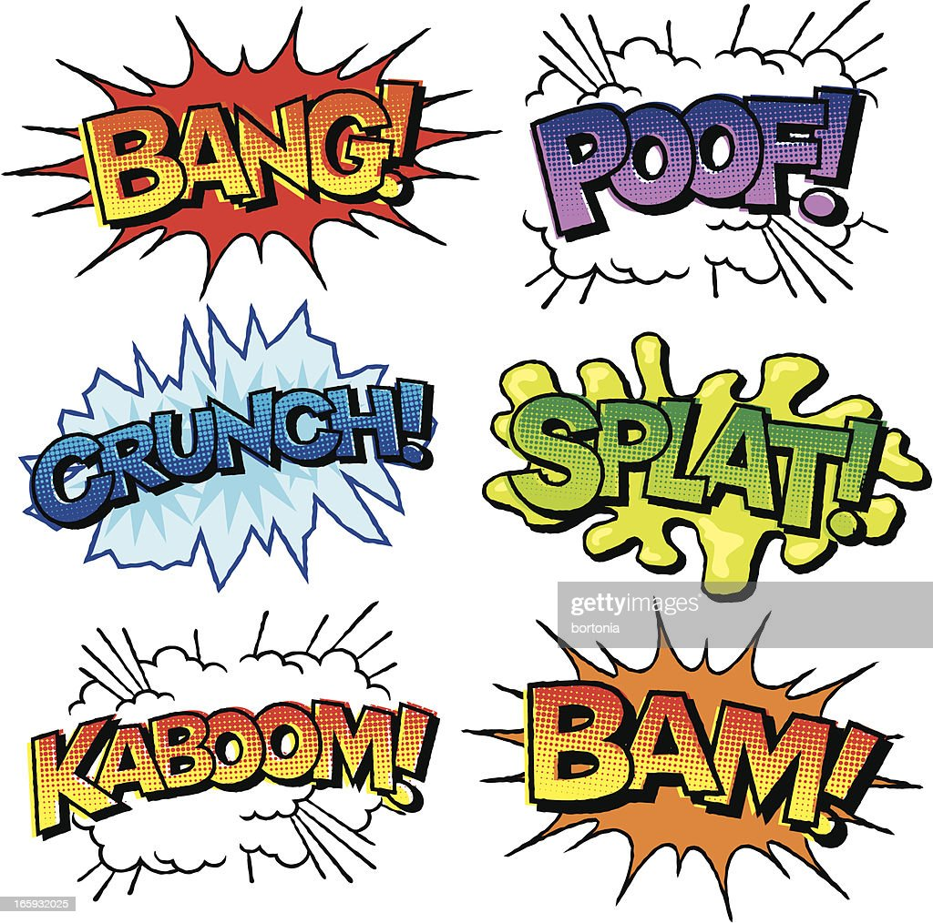Comic Book Sound Effects Icon Set Vector Art