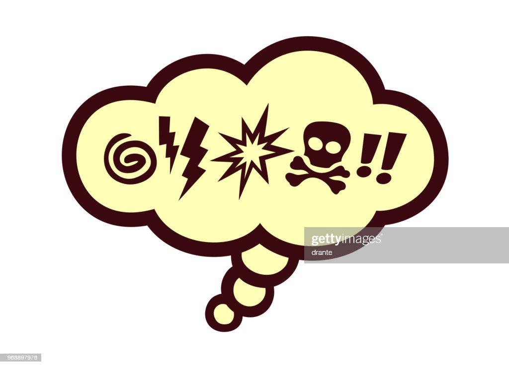 Comic book speech bubble with swear words symbols vector illustration
