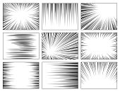 Comic book speed lines set, explosion effect