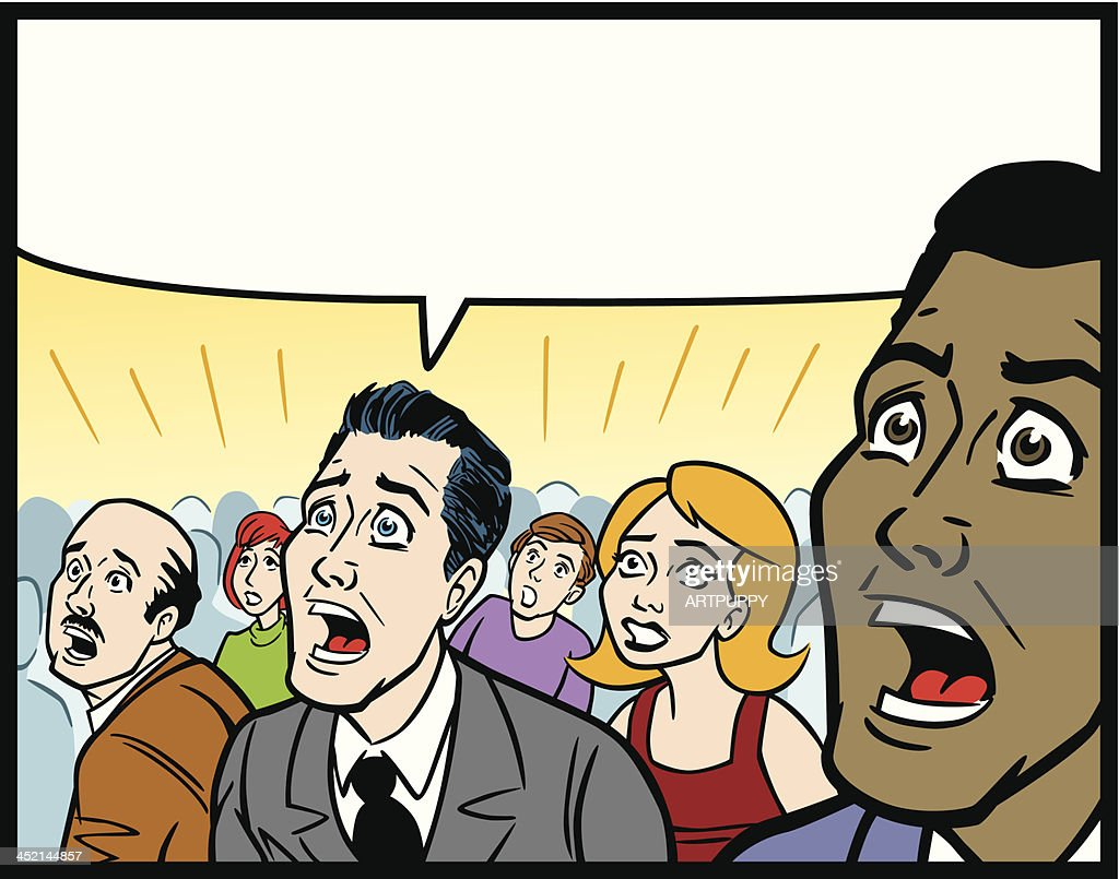 Comic Book Style Crowd In Fear : stock illustration