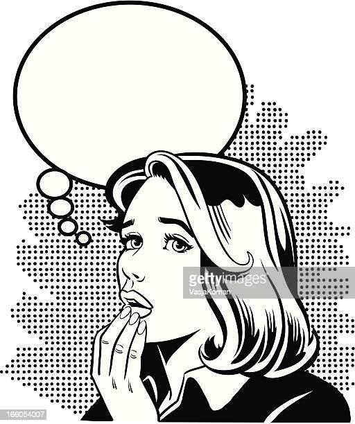 Comic Book Style Retro Woman Worrying