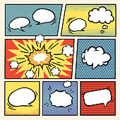 comic book style speech bubbles set