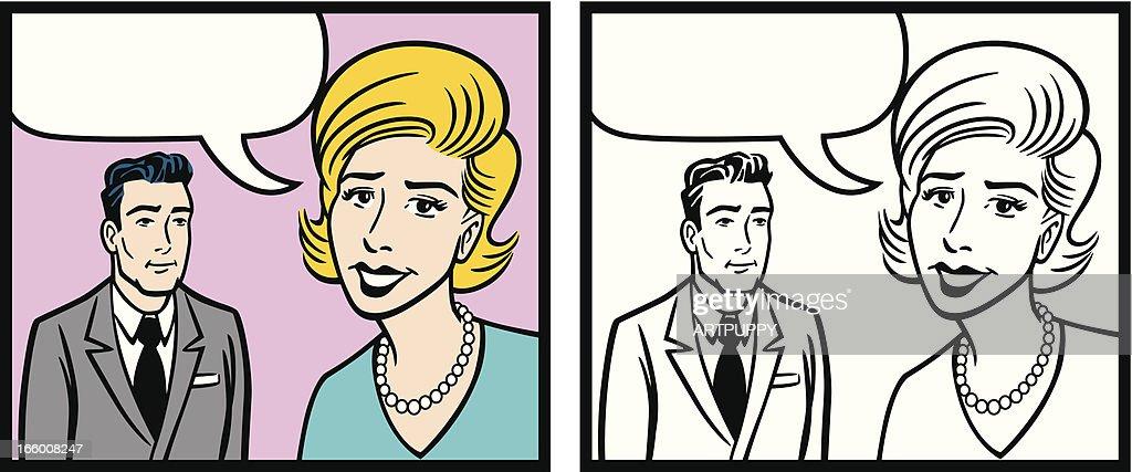 Bande Dessinee Femme Et Homme Avec Coiffure Illustration Getty Images