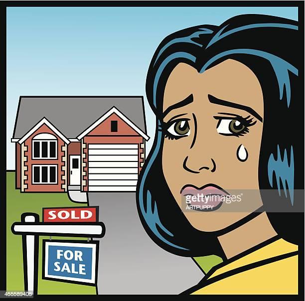 Comic Frau Crying Over House