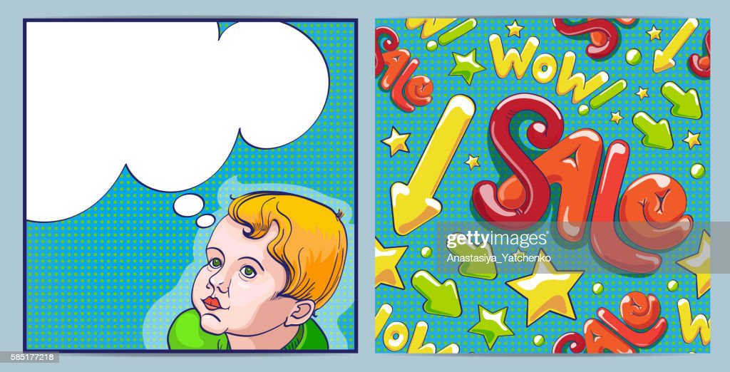 Comic boy with speech bubble. Sale shopping seamless pattern