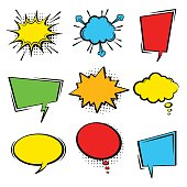 Comic cartoon colored speech bubble set.