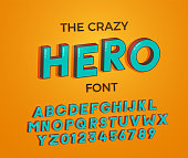 Comic cartoon crazy hero font. Vector illustration 3d design