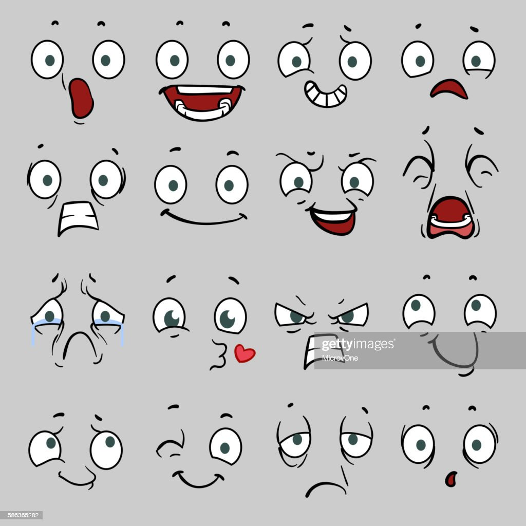 Comic cartoon faces with different emotions. Vector illustration