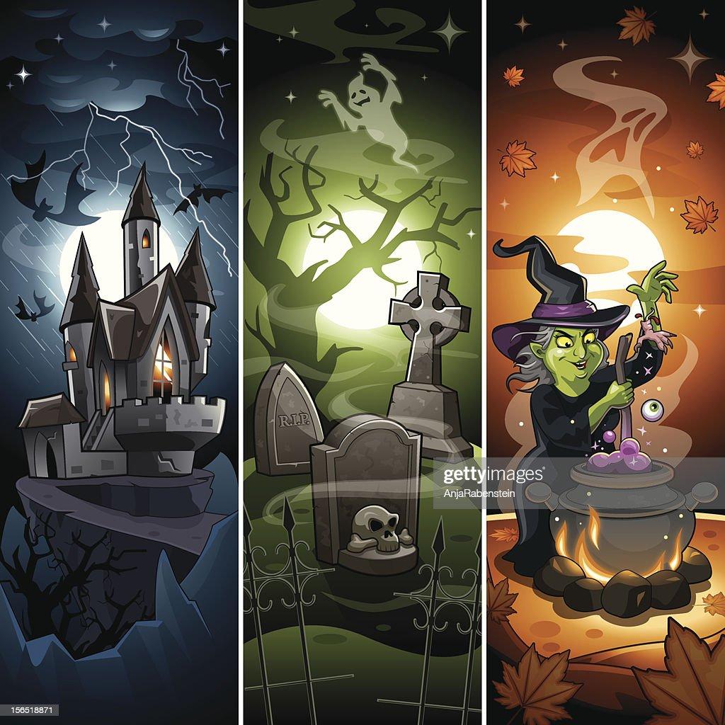 Comic Cartoon Halloween Banner With Draculas Castle Scary ...