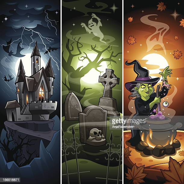 comic cartoon halloween banner with draculas castle, scary graveyard, witch - potion stock illustrations