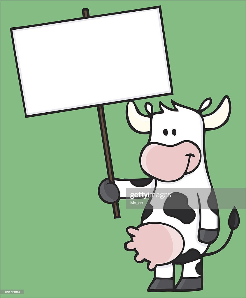 Comic Cow Holding A Blank Sign Vector Art | Getty Images