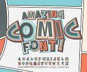 Comic font, alphabet. Comics book, pop art