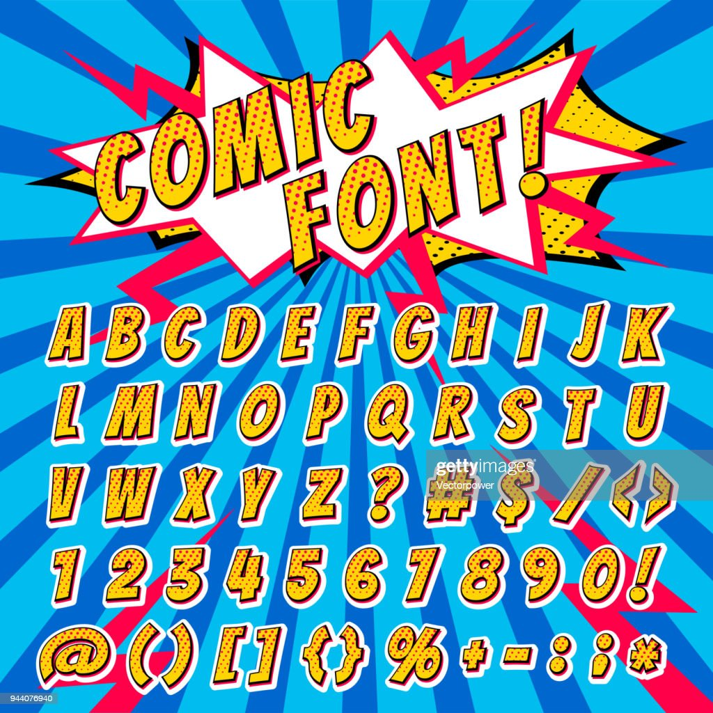 Comic font vector cartoon alphabet letters in pop art style and alphabetic text icons for typography illustration alphabetically typeset of abc and numbers on popart background