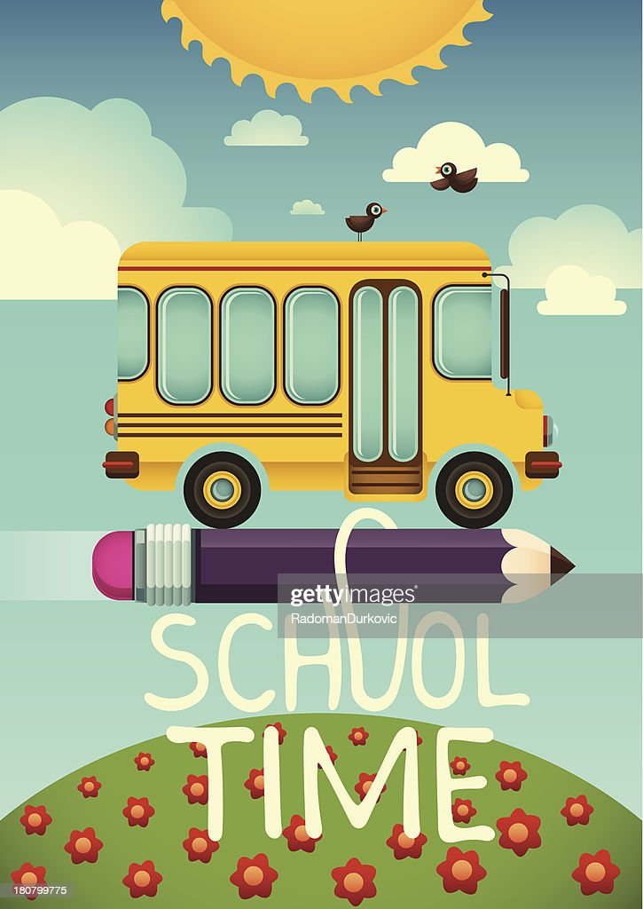 Comic illustration with school bus.