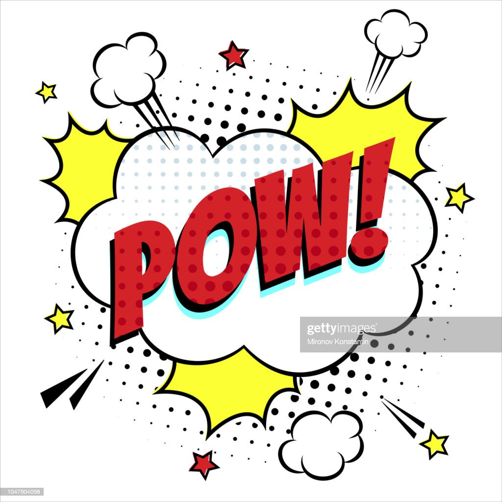 Comic lettering speech bubble for emotion with text POW comic style flat design. Dynamic pop art illustration isolated on white background.
