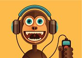 Comic monkey with headphones.