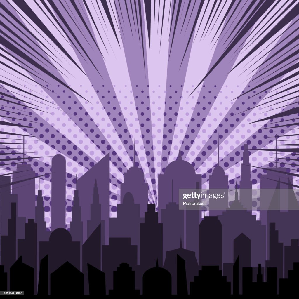 Comic night city silhouette template